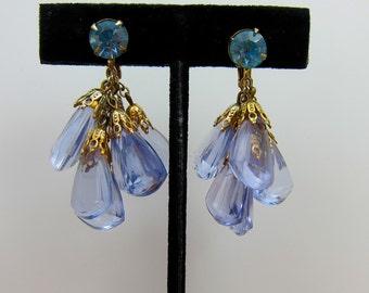 Crystal Earrings, Blue, Vintage Clear Blue Dangles