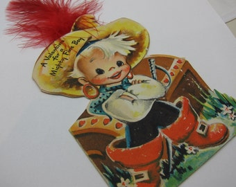 Valentine Pirate Card Feather Vintage Valentine