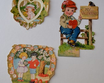 Valentine Cards - Set of 3 Old Valentines Vintage Valentines
