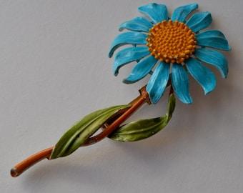 Vintage Blue Enamel Flower Brooch Vintage Blue Enamel Spring Flower Brooch