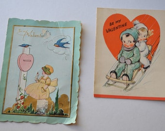 Vintage Valentine Cards - Set of 2 Valentines with Children