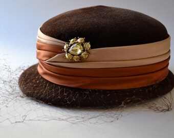 Brown Velour Hat with Jewel Vintage Velour Italian Made