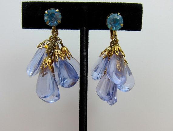 Blue Crystal Earrings Vintage Clear Blue Dangles