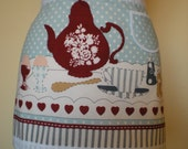 Vintage inspired  CHEF  STYLE  Half  APRON 'English  Morning  Tea'  cafe style