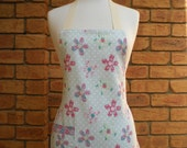 HOSTESS APRON in a mini style with retro style floral design and pale green polka dots Fully Lined