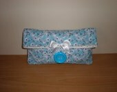 Medium fold over makeup organizer pouch in  blue lavendar floral printed fabric flowers