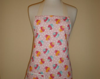 HOSTESS APRON ' Cupcakes' in mini style Fully Lined new design with polka dots