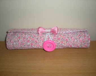 Brush roll/Travel accessory holds 15 brushes more compact version pink floral print washable