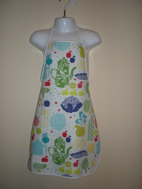 Childrens  Cute and Adorable Full Length Apron  in Kitchen print with tea pots fruits and vegetables