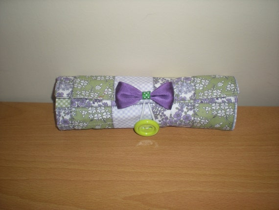 Brush roll/Travel accessory holds 17 brushes with extra zipped pocket puple lime floral polka dot print washable