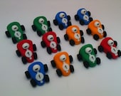 12 Miniature Race Cars in Edible Fondant for your Cupcake toppers, excellent idea for your mini cupcakes