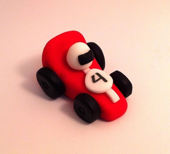 Items Similar To Race Cars Fondant Cake Or Cupcake Toppers