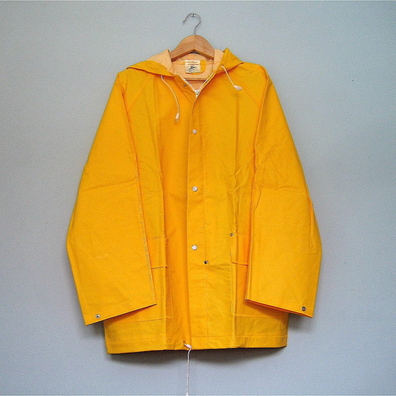 Best Ever Vintage Yellow Raincoat Coat Large L M