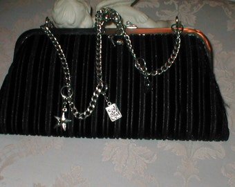 Vintage Black Evening Purse with Charm Bracelet Handle
