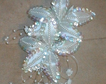 White Bridal Headpiece of Beads on a Comb