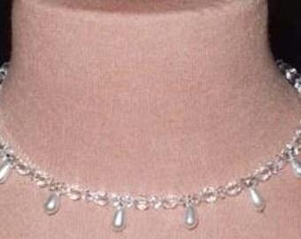 Swarovski Pearl and Crystal  Bridal Necklace