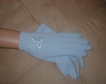 Vintage Baby Blue wrist length Gloves