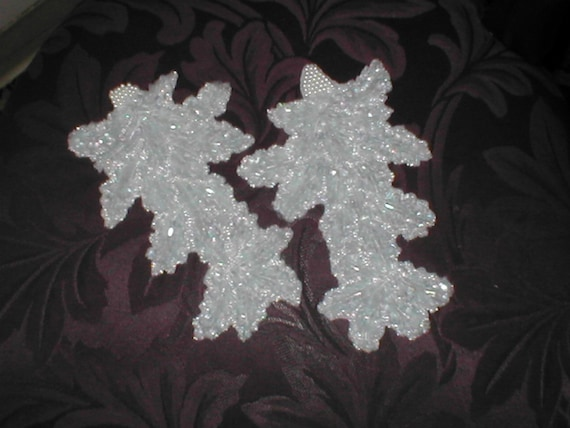 Two Large Beaded Appliques in ivory
