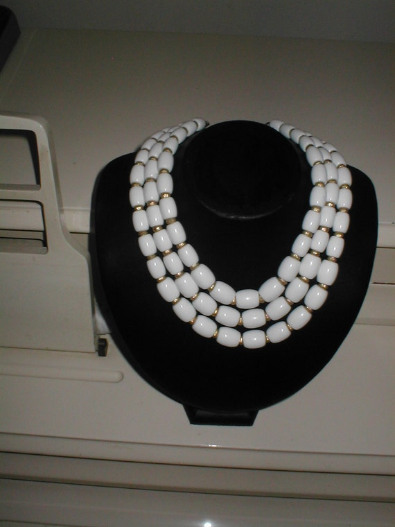 Vintage 1950s signed TRIFARI CROWN three strand Necklace