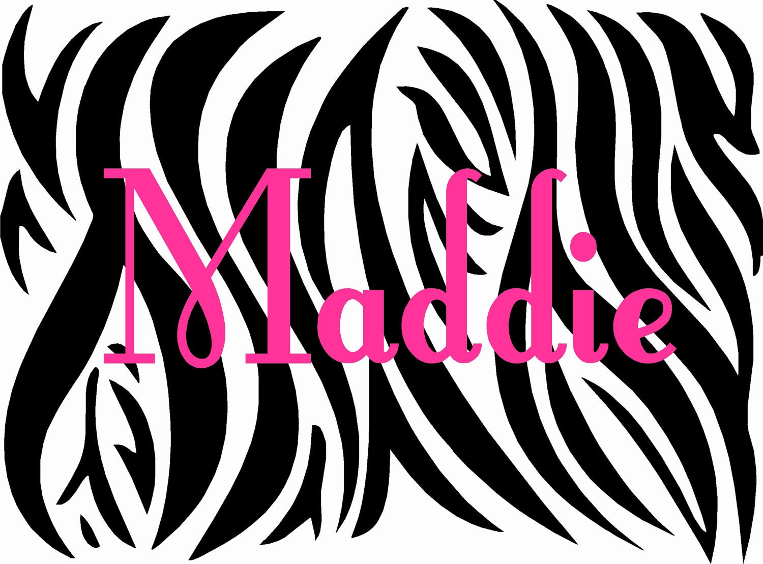 Zebra print with custom name vinyl wall decal by landbgraphics