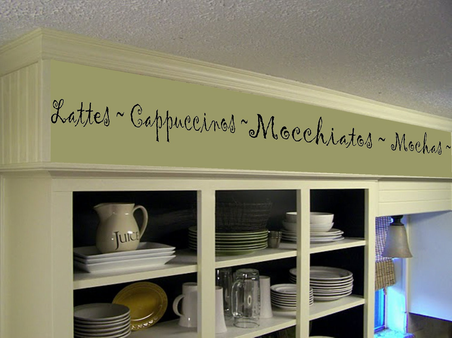 Coffee kitchen words border vinyl wall decor cafe vinyl wall - Decals for kitchen cabinets ...