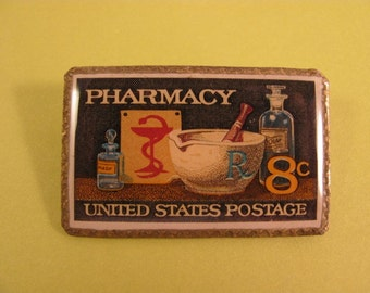 Pharmacy Postage Stamp Pin