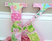 Lilly Pulitzer Inspired Wall Hanging Letter K - Perfect Patchwork