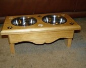 hand crafted small dog / cat bowl feeder stand
