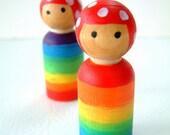 Wooden Rainbow Gnome Dolls Set