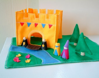King's Castle Playset - Wood and Felt Includes figures
