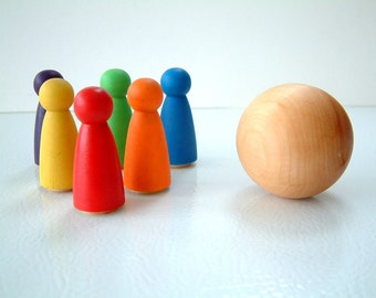 New And Improved Rainbow Bowling Set  -  Wooden Toy - Stocking Stuffer - Peg Doll Game - Unique Gift - Zooble - Christmas - Hanukkah