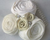 Bridal Comb, Ivory Fascinator, Bridal Flower, Roses, Pearls and Rhinestones, Wedding Hair Flower  - EMILY