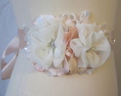 Peach Blush Bridal Sash, Ivory and Peach Bridal Belt, Handmade Flower Bridal Sash - PEACHES N CREAM