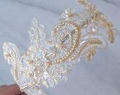 Champagne Lace Headband, Bridal Headband, Pearl Headband, Gold Lace - JULIET