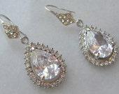 Delicate Rhinestone Chandelier Earrings, Swarovski Crystal Bridal Earrings, Rhinestone Earrings, Vintage Style - LARA