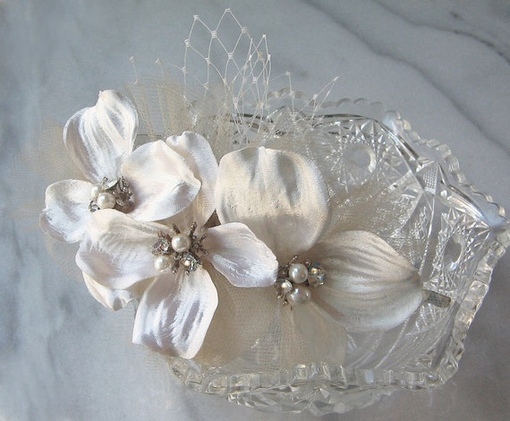 Ivory Bridal Headband, Champagne Headband, Bridal Headpiece, Flower Headband - ADELE