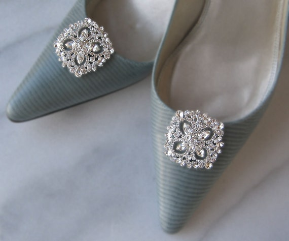 Rhinestone Crystal Shoe Clips, Bridal Shoe Clips, Wedding Shoe Clips, Bridesmaids - HATHAWAY
