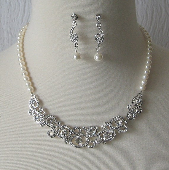 Rhinestone and Pearl Necklace and Earrings Set, Bridal Set, Swarovski Crystal and Pearl Wedding Jewelry - DARIA