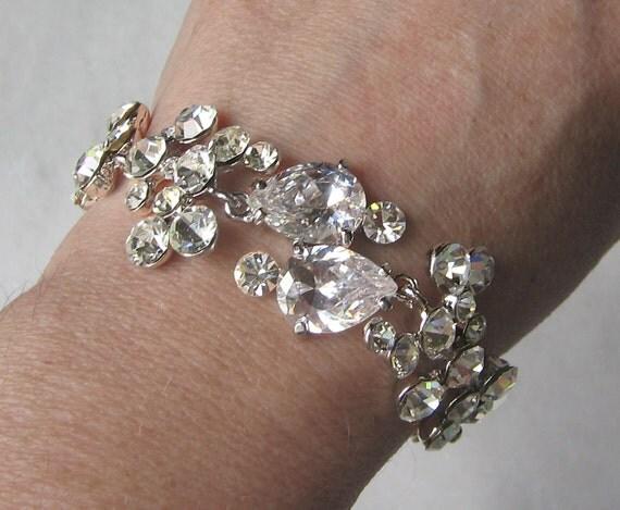 Delicate Rhinestone Bracelet, Swarovski Crystal Bridal Bracelet, Wedding Bracelet - SABRINA