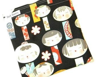 Reusable Sandwich Bag Black Yui Kokeshi Eco Friendly