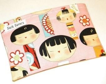 Pink Yui Kokeshi Eco Friendly Reusable Sandwich Bag