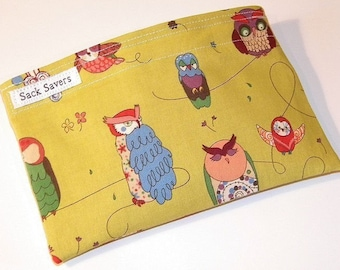 Reusable Sandwich and/or Snack Bag Green Spotted Owl
