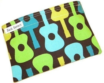 Groovy Guitar Eco Friendly Reusable Handmade Snack Bag