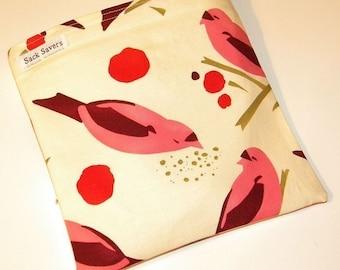 Reusable Sandwich Bag Pink Birdseed Eco Friendly Reusable Sack