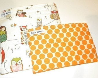 Reusable Sandwich and Snack Bag Set Spotted Owl and Polka Dot Eco Friendly