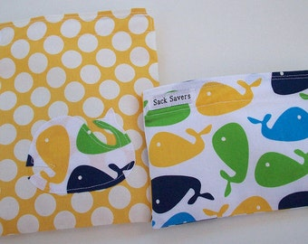Reusable Sandwich and Snack Bag Set Zoologie Whales and Yellow Polka Dots Eco Friendly