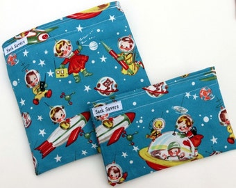 Retro Rocket Space Eco Friendly Reusable Sandwich and Snack Bag Set