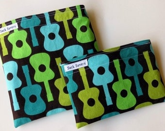 Groovy Guitar Reusable Eco Friendly Sandwich and Snack Bag Set