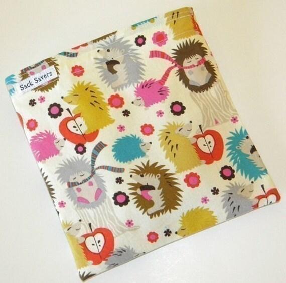 Reusable Sandwich Bag Hedgehog Meadow