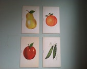 Vintage French Flashcards - Set of 4 - Midcentury Fruits and Vegetables
